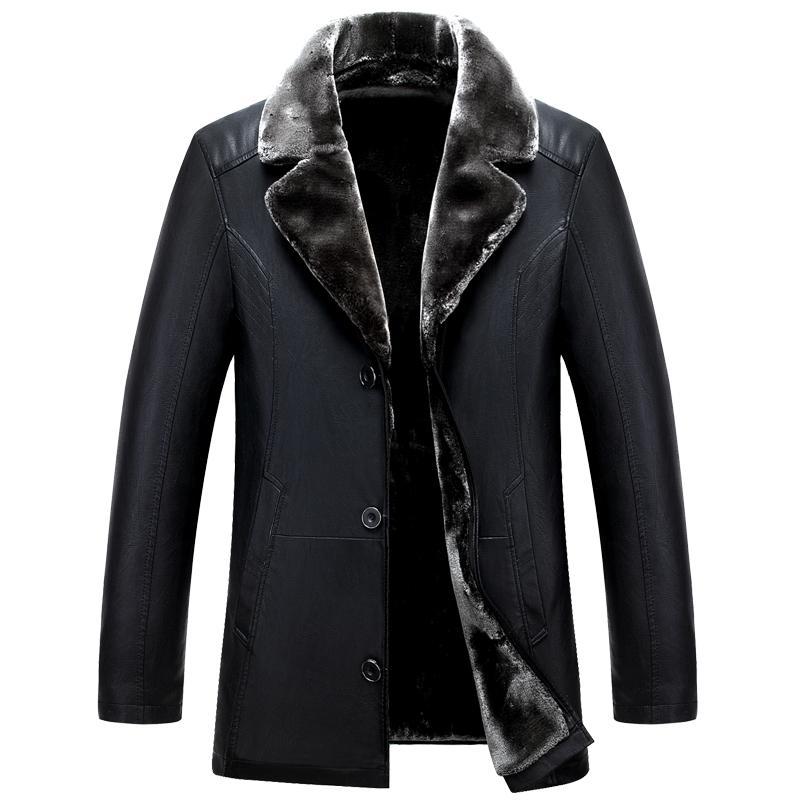 Vente en gros - Vestes en cuir noir russes HIVER Haute Qualité épaisse Hommes Hommes Cuir Veste et manteau Mode Casual Hommes Vêtements Jaquet