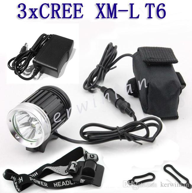 أحدث كري xml 3 t6 led 3800lm دراجة دراجة ضوء كشافات دراجة الجبهة مصباح المصباح المصباح + شاحن + عقال + بطارية حزمة
