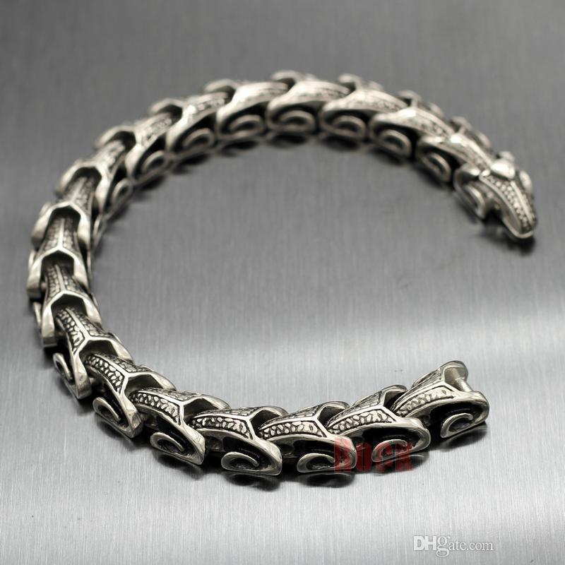 environ 21.84 cm Hommes Bracelet Brassard Chaîne en Acier Inoxydable Biker Punk Hip Hop 3 Couleurs 8.6 in