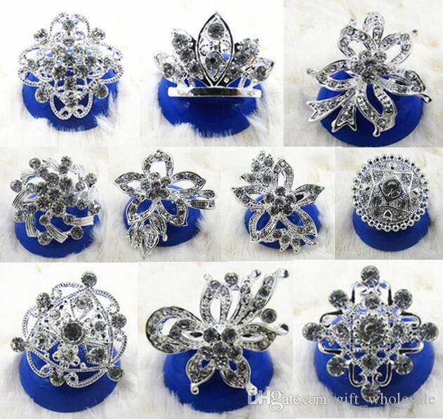 120pcs/lot European Silver Plated Alloy Rhinestone Crown Collar Flowers Pin Brooch 10 styles for choices