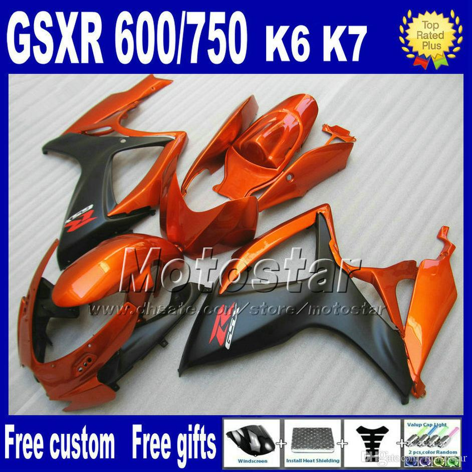 ABS full fairing kit for GSX-R 600 750 2006 2007 SUZUKI GSXR600 GSXR750 06 07 K6 brown matte black custom fairings set FS73