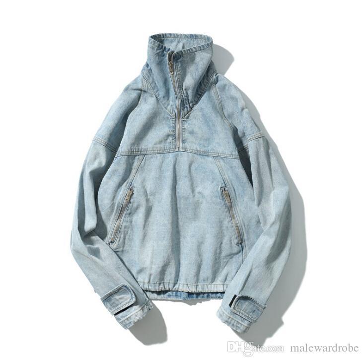 Graffiti gedruckt Männer Hip Hop Hoodies Denim blau Jean Rollkragen Casual Oversize Pullover Langarm lose Sweatshirts Tops