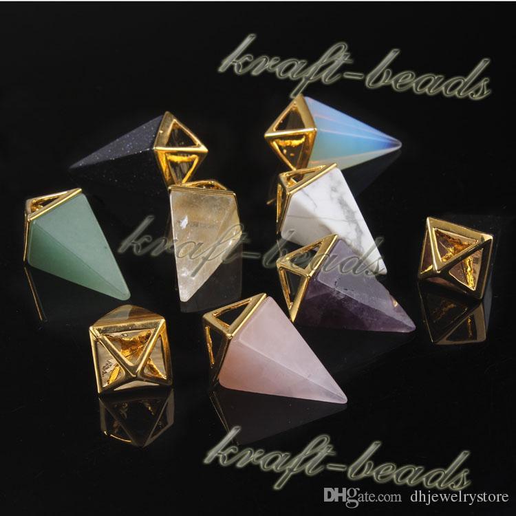 10pcs all'ingrosso classico placcato oro quattro angoli a forma di cuore naturale ametista quarzo rosa pietra preziosa pendenti pendenti collana