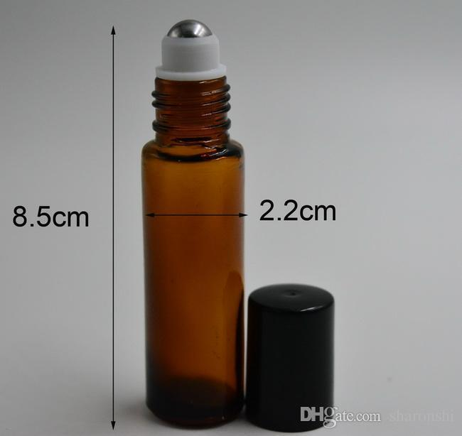 Wholesale - 10ml Amber Glass Roll On Essential Oils Perfume Bottles With Stainless Steel Roller Ball BY DHL