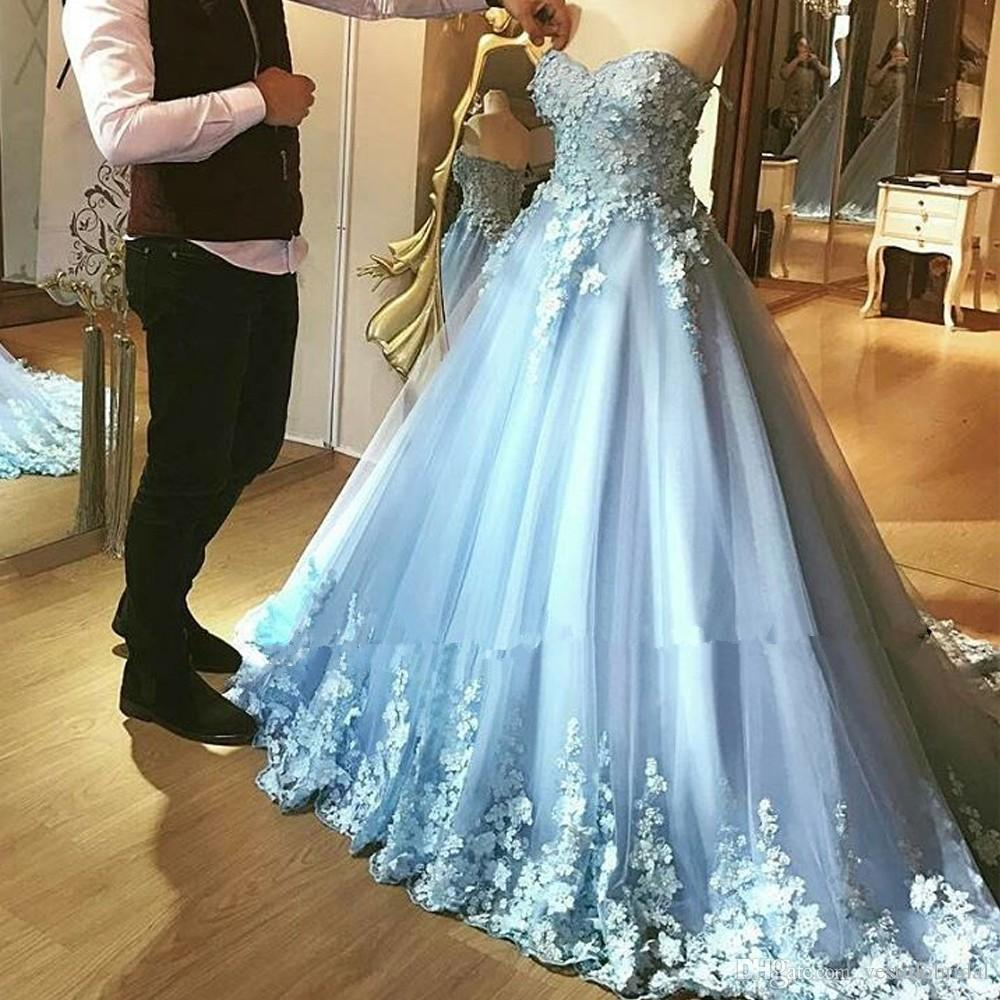 Light Blue Cheap Quinceanera Gowns 2018 Sweetheart 3D Flower ...