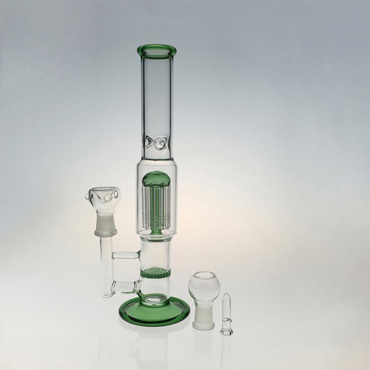 "32cm 12"" Zwei Funktionsglas Wasserrohr 8 Arm Perc Percolator Glas Bong Tabakspfeifen Glaskuppel bowl Bohrinseln Joint 18.8mm"