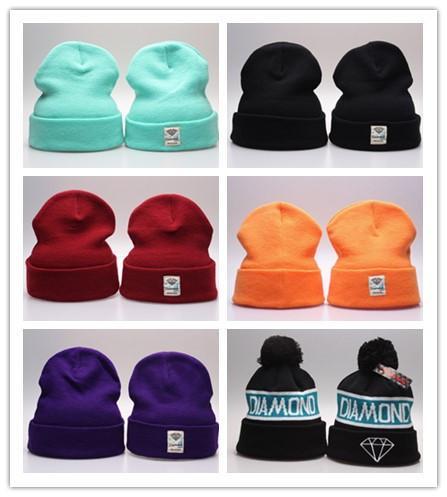 Diamond Supply Co Beanie Hat Popular Skullies warm Beanies Men And Women Winter Knitted Letter Cap 20 Colors Gorras wool hats