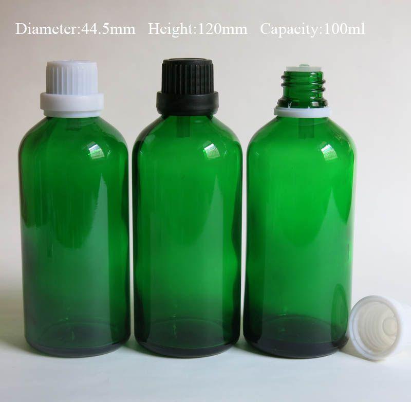 childproof 캡 / 아로마 테라피 녹색 유리 병 10pcs / Lot 100ml 유리 에센셜 오일 병 도매