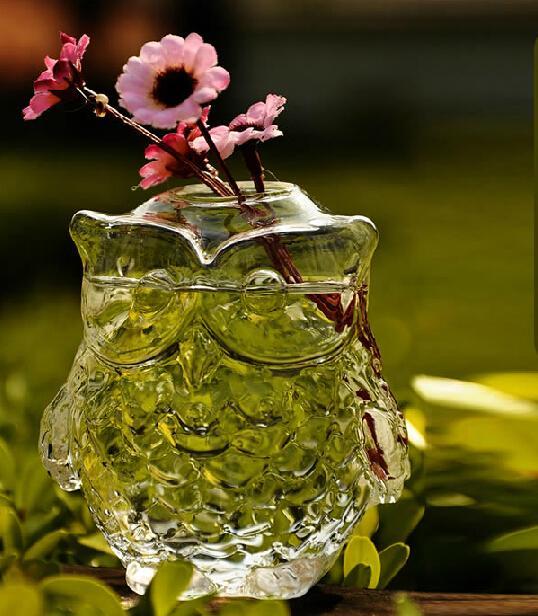 Handblown البومة الزجاج المزهريات ديكور المنزل المزهريات زهرة هدية سعيدة للأمهات