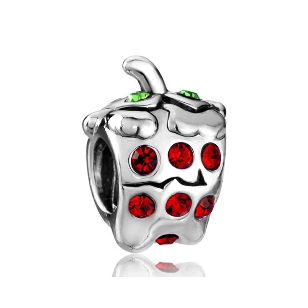 Moda joyería de las mujeres DIY Europa verde cristal rojo fresa fresa metal de metal encantos sueltos se adapta a Pandora charm bracelet