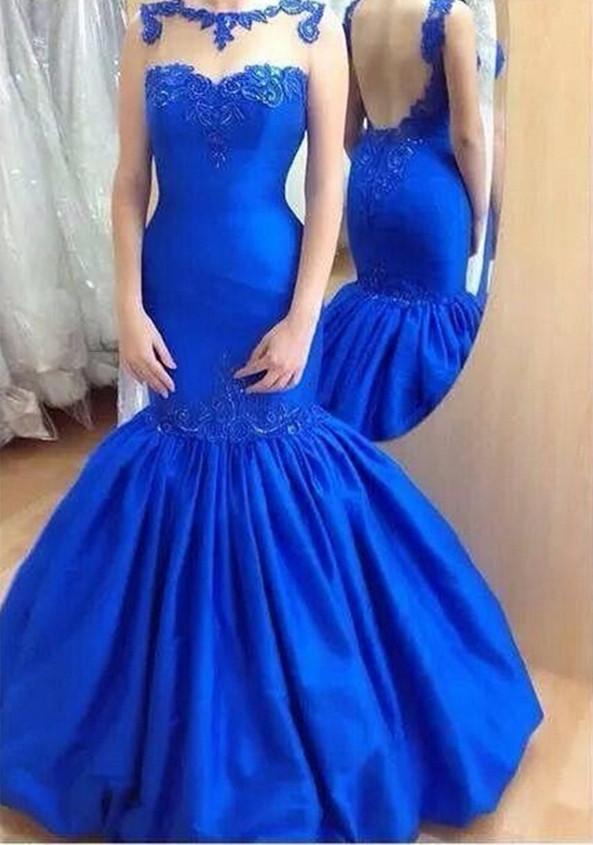 Королевские синие платья русалки Вечернее платье с аппликациями с рюшами и открытой спиной Элегантные свадебные платья для женщин Вечеринка для выпускного вечера