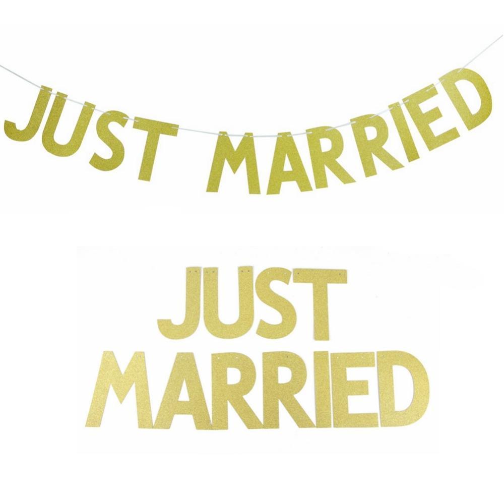 3M(10ft) JUST MARRIED Gold Glitter Banner Bunting Letter Banner ...