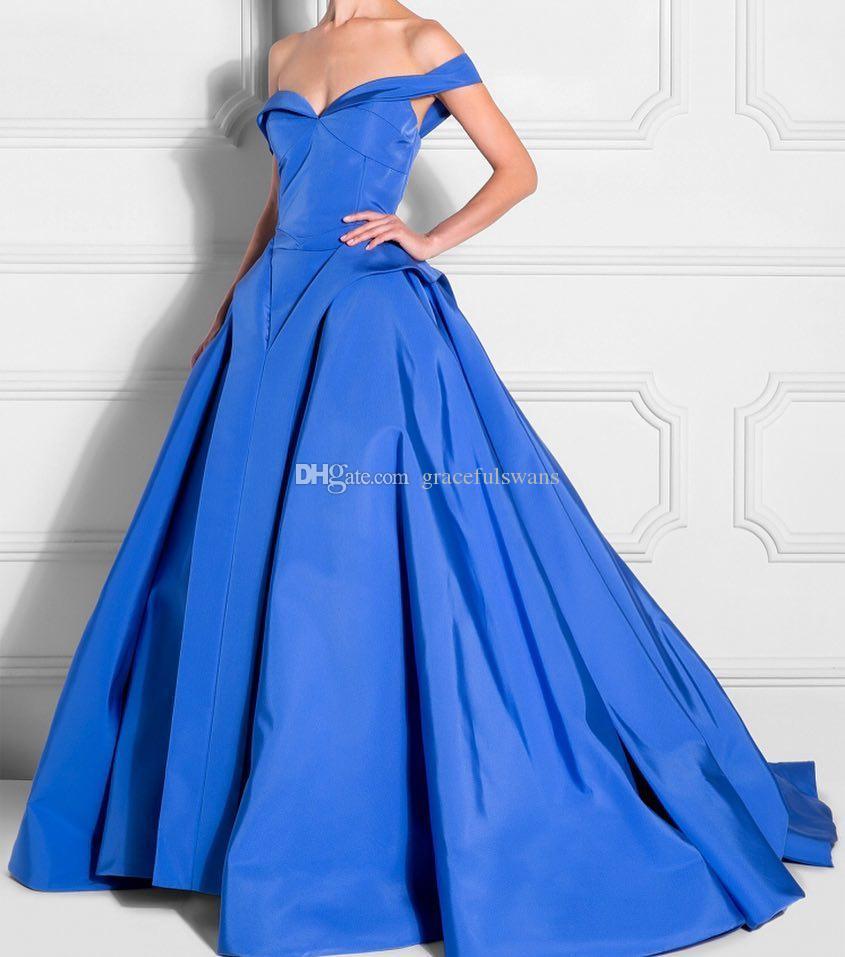 Großhandel Schatz Schulterfrei Blaue Abendkleider Lange A Linie Taft  Schößchen Elegante Abendkleider Vestidos De Festa Von Gracefulswans, 9,9  € Auf