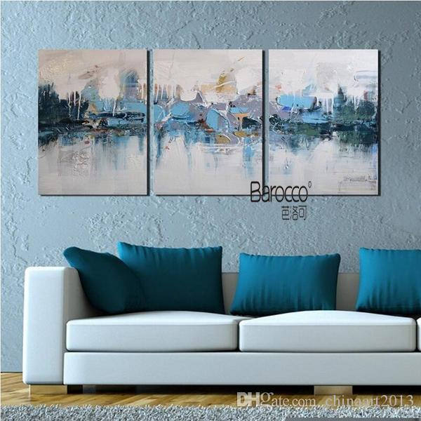 3 Pieces Hand Painted Scenery Oil Painting Abstract Blue Village Modern Home Wall Decoration No Framed