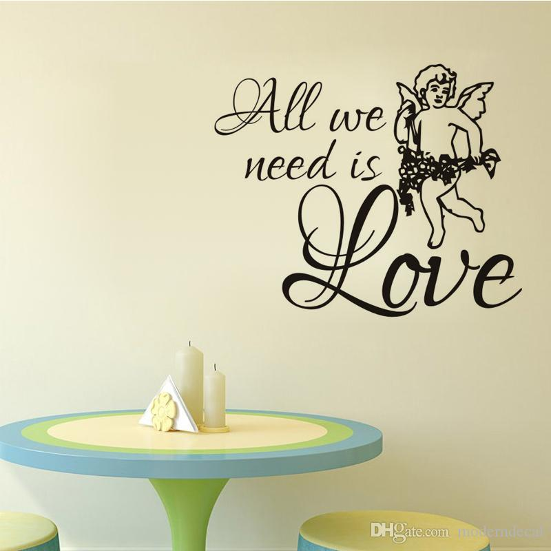 All We Need Is Love Wall Stickers Quotes Bedroom Wall Decor Angel Wall  Decals Vinyl Art Mural Wall Deals Wall Decal From Moderndecal, $7.68| ...