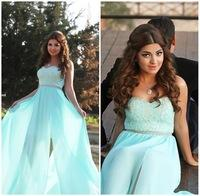 Gorgeous Summer Cheap Sweetheart Lace Blue Prom Dresses 2015 Floor Length Front Slit Long Formal Evening Dresses Fast Shipping