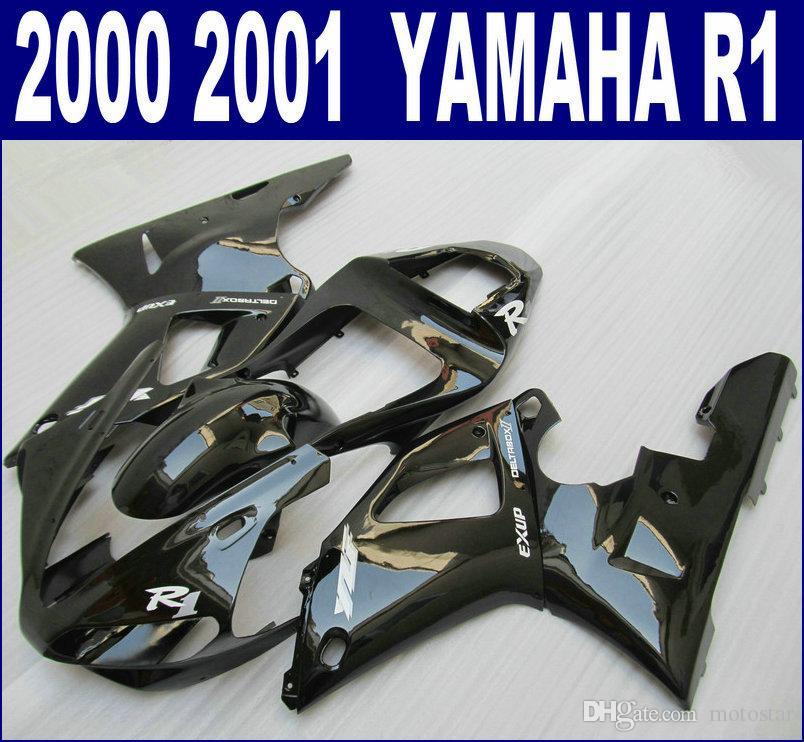 Kit carena in plastica ABS per carene YAMAHA 2000 2001 YZF R1 set YZF-R1 00 01 tutto nero lucido aftermarket RQ94 + 7 regali