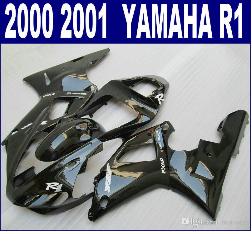 YAMAHA 2000 2001 YZF R1 için ABS plastik kaporta kiti set YZF-R1 00 01 tüm parlak siyah satış sonrası RQ94 + 7 hediyeler