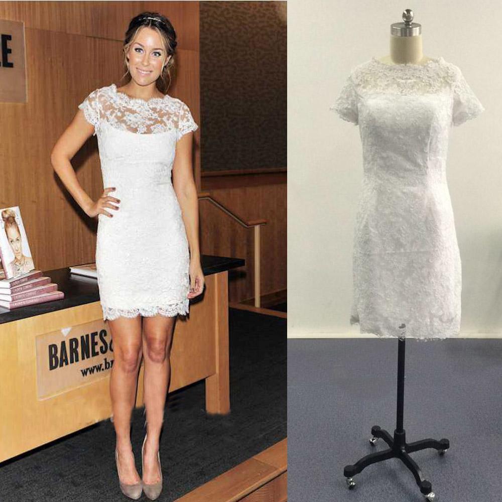 Petites robes blanches Cap manches courtes Alencon dentelle Mini robes de célébrités Images réelles Robes de soirée d'été