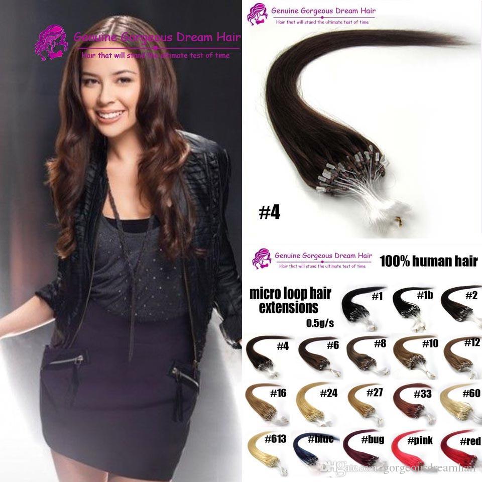 16-24inch Brazilian Virgin Hair Loop Micro Ring Hair Extensions #1#2#4 and Blond Hair Straight hair 0.5g strand,100s pack