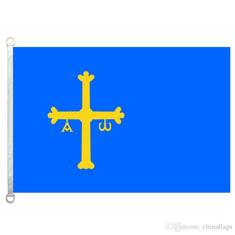 Bon drapeau drapeaux des Asturies bannière 3X5FT-90x150cm 100% drapeaux de pays de polyester, drapeau extérieur de tissu tricoté de chaîne de 110gsm