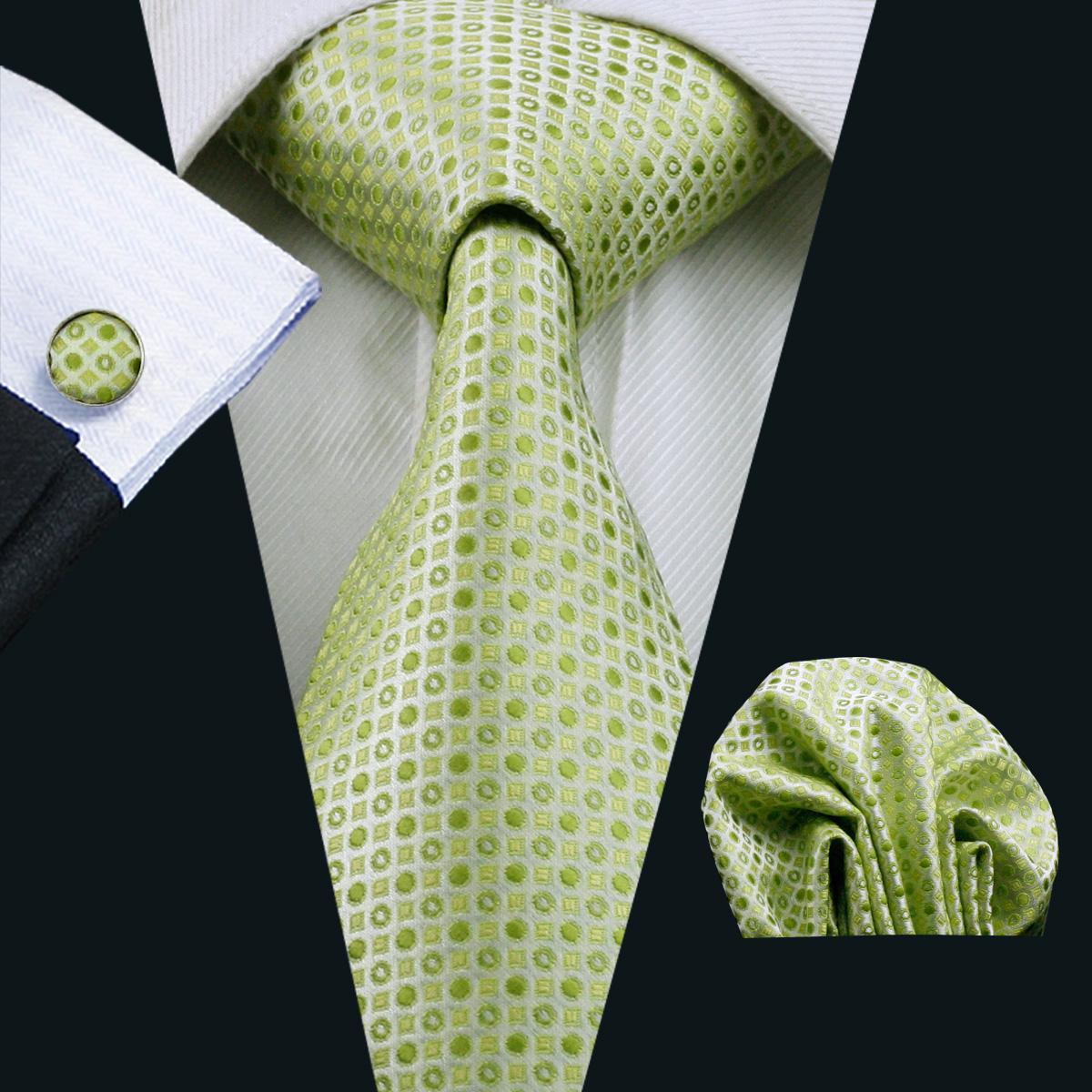 남자에 대 한 녹색 점이 넥타이 고전적인 실크 Hanky 커프스 단추 설정 자 카드 짠 공식적인 작업 모임 레저 N-0696