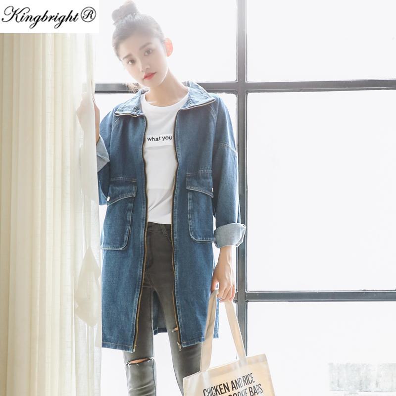 Großhandel-Kingbright Marke neue 2016 Frühling Langarm Frauen Jeansjacke ausgefranste Jeans Jacke Mantel Jean Mäntel plus Größe Frauen Outwear