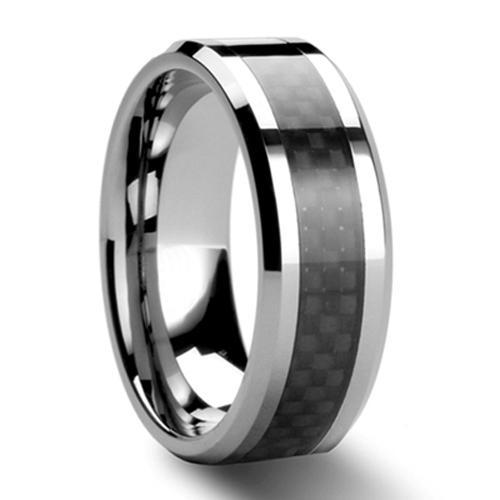Anillo de boda negro de la fibra de carbono del tamaño del anillo del carburo de tungsteno para hombre tamaño 6 - 13 (# NR05BC)