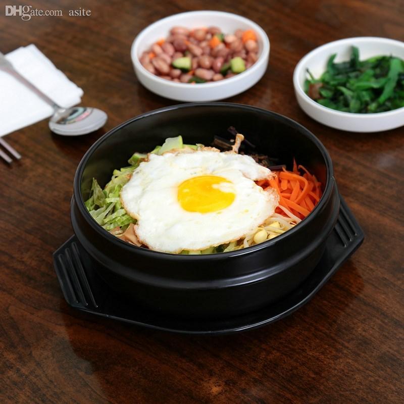 Al por mayor-Coreana de cocina Dolsot Piedra cuenco de barro olla de cerámica Bibimbap Jjiage con el embalaje de la bandeja Profesional