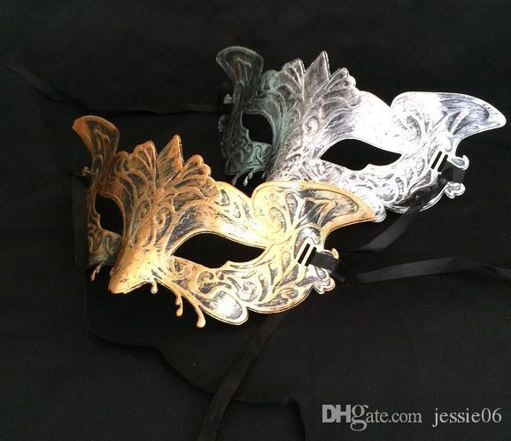 Heren Vintage Eagle Masker Mardi Gras Halloween Masquerade Gents Effen Masker Gentleman Party Christmas Bauta Mask Gold Sliver Feestelijke Benodigdheden