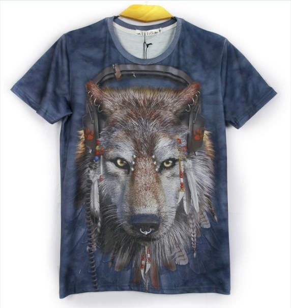 w1209 [магия] 2013 горячая модель новый сделал наушники волк печатных футболка с коротким рукавом o шеи мужская хлопок футболка 006 бесплатная доставка