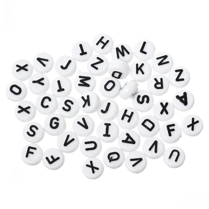 Nouvel acrylique Spacer Pony Beads Flat Round Alphabet / Lettre White 10mm Dia, Trou: Environ 2.4mm, 200PCs résultats de bijoux faisant de gros en bricolage