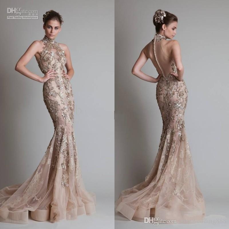 Sexy See Through Organza Button Back Mermaid Trumpet Elie Saab Evening/Formal/Prom Dresses With High Neck And Luxurious Silver Appliques