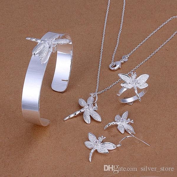 High grade 925 sterling silver Insets Dragonfly Set jewelry sets DFMSS276 Factory direct sale 925 silver necklace bracelet earring ring