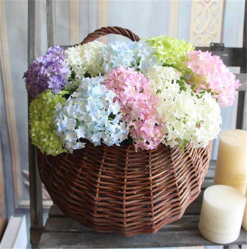 "Silk Mini Single Stem Hydrangea 33cm/12.99"" Length Artificial Flowers Hexagon Hydrangeas for DIY Bridal Bouquet Accessories 5 Colors"