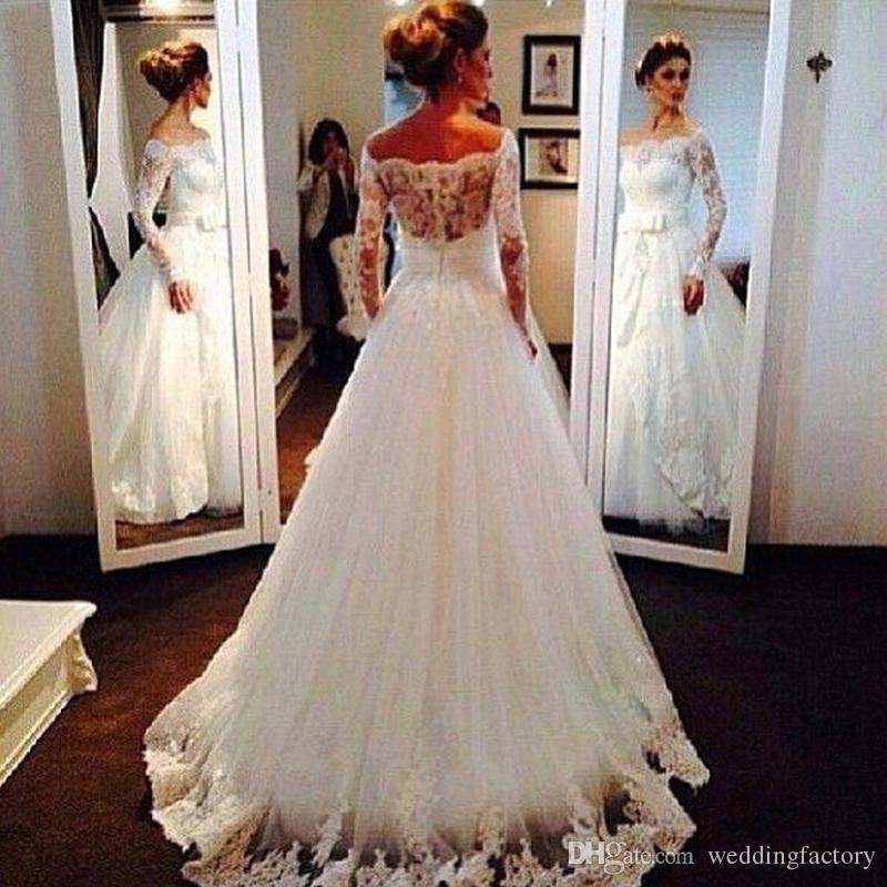 Princesa Maison Yeya Vestidos De Casamento Uma Linha Ilusão Decote Fora do Ombro Sheer Mangas Compridas Lace Apliques Sweep Trem Vestidos de Noiva