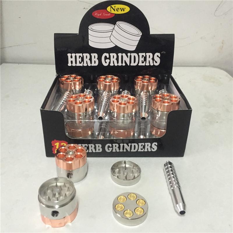 12 adet / grup BULLET DÖNER BORU tarzı tütün öğütücü metal ot değirmeni Sigara Boru + değirmenleri [SKU: A592]