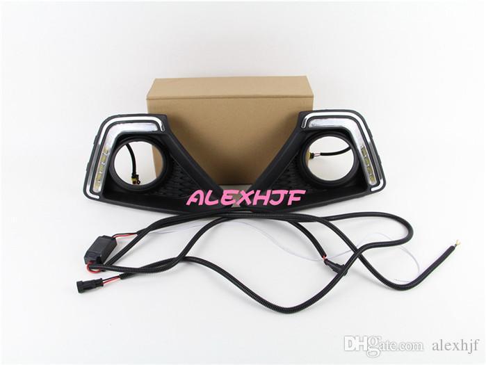LED dzienne światła do jazdy DRL z pokrywą lampy przeciwmgielnej, LED Lampa przeciwmgielna Case dla Hyundai Xcentr Grand I10 2014 ~ On Wymiana, 1 Pair