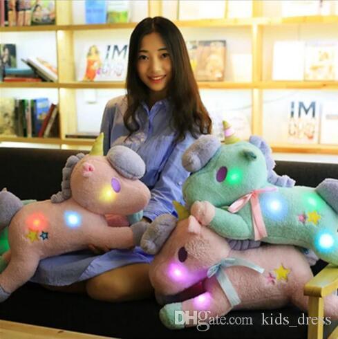 2 couleurs 50cm LED Licorne Poupée Licorne En Peluche Jouet Animal Poney Twin Girl Oreiller Bande Dessinée Accessoires CCA7941 50pcs