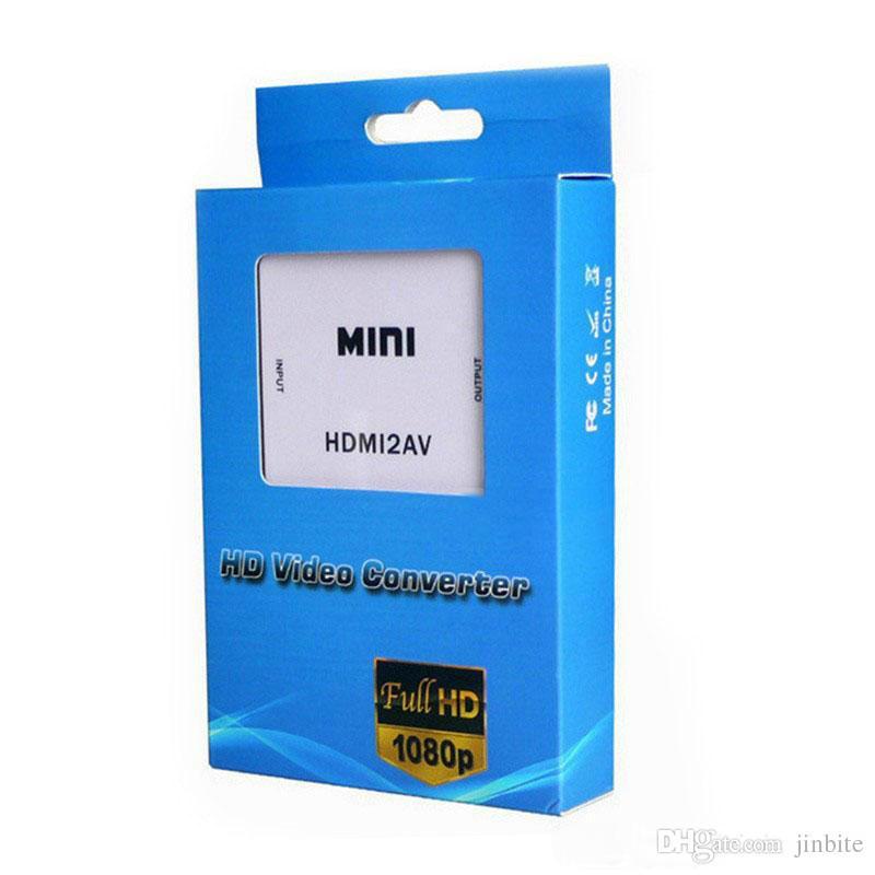 HDMI2AV Adaptateur vidéo HD 1080P mini HDMI vers AV Convertisseur CVBS + L / R HDMI vers RCA Pour Xbox 360 PS3 PC360 Avec emballage de vente OM-CD8