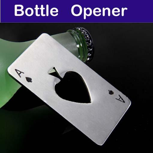 스테인레스 스틸 포커 카드 맥주 병 오프너 무료 배송