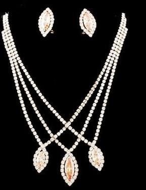 шампанское цвет алмазный waterdrop свадьба невесты ожерелье (32+дополнительные 10 см) серьги (3*1.6 см) набор (myyhmz)