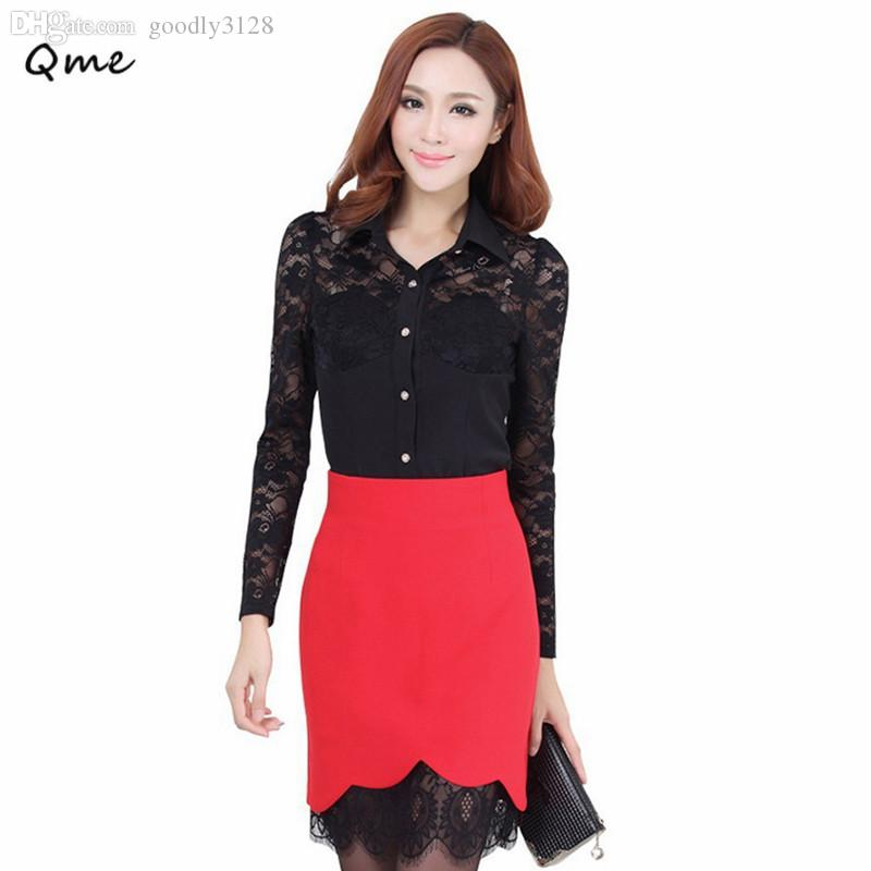Wholesale-Lace skirts women pencil skirt formal plus size saias femininas renda work wear faldas 2015 black red white jupe ladies WL003