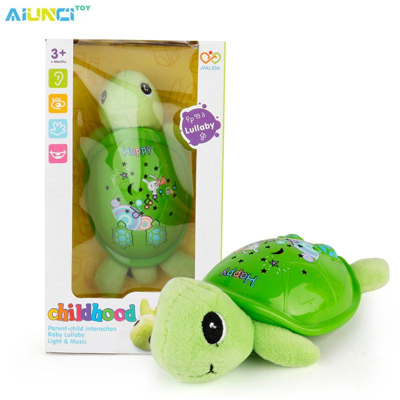 Wholesale- AIUNCI Toys Plush Baby Musical Toys Appease Infants Turtle Stuffed Animal Dolls With Lighgt And Projection For baby 0-13 years