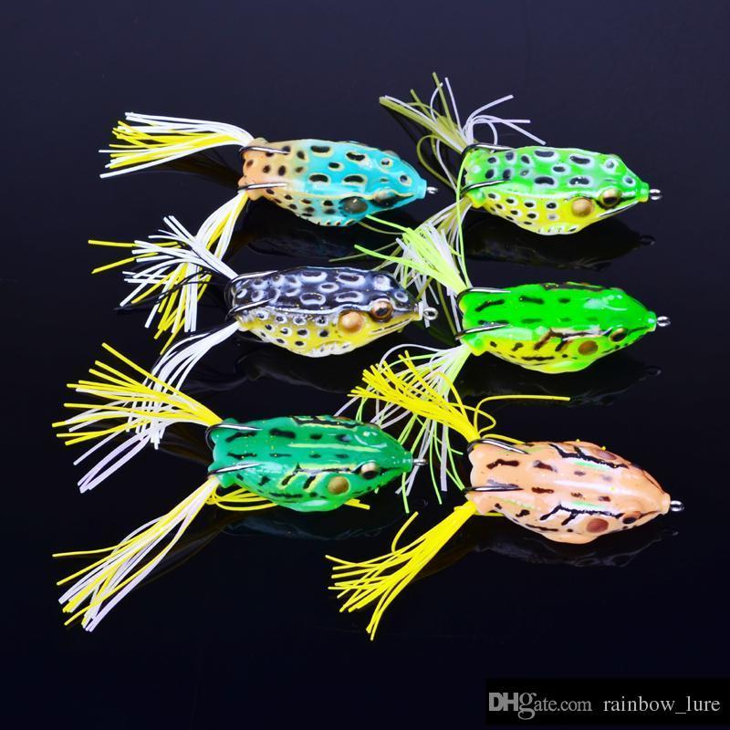 Topwater Yüzey Yüzme Popper Balıkçılık Yapay Cazibesi 5.5 cm 12g Yumuşak kurbağa şekli Yemler Tatlısu Crankbaits Lures