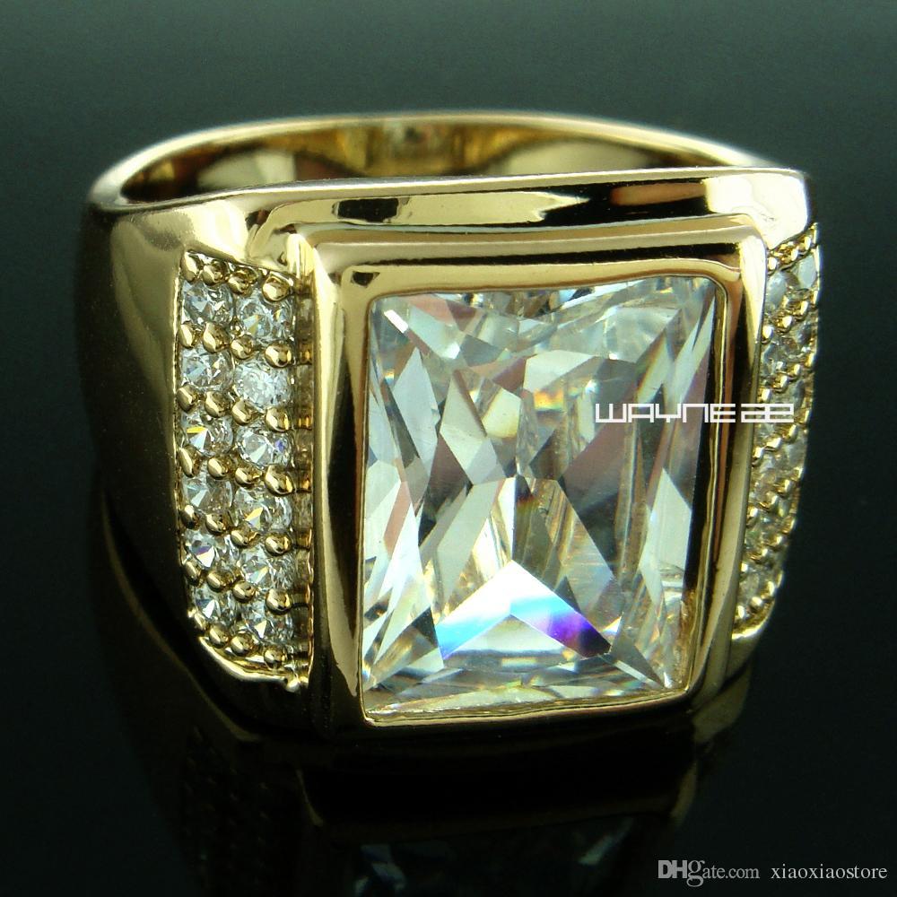 18k желтое золото заполнены мужские обручальное кольцо Lad diamond R199 размер Q-Z+5 R199