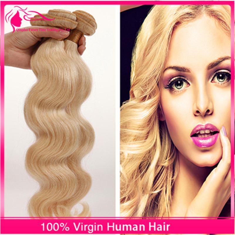 7A Russian Blonde Virgin Hair Weaves 3 Bundles 100% Unprocessed Swedish Virgin Hair Body Wave 613 Platinum Blonde Human Hair Extensions