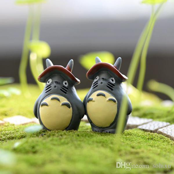 5pcs Mushroom Totoro Figurines Resin Crafts Mini Fairy Garden Miniatures Succulent Bonsai Tools terrarium Micro Landscape Gnomes Home Decor