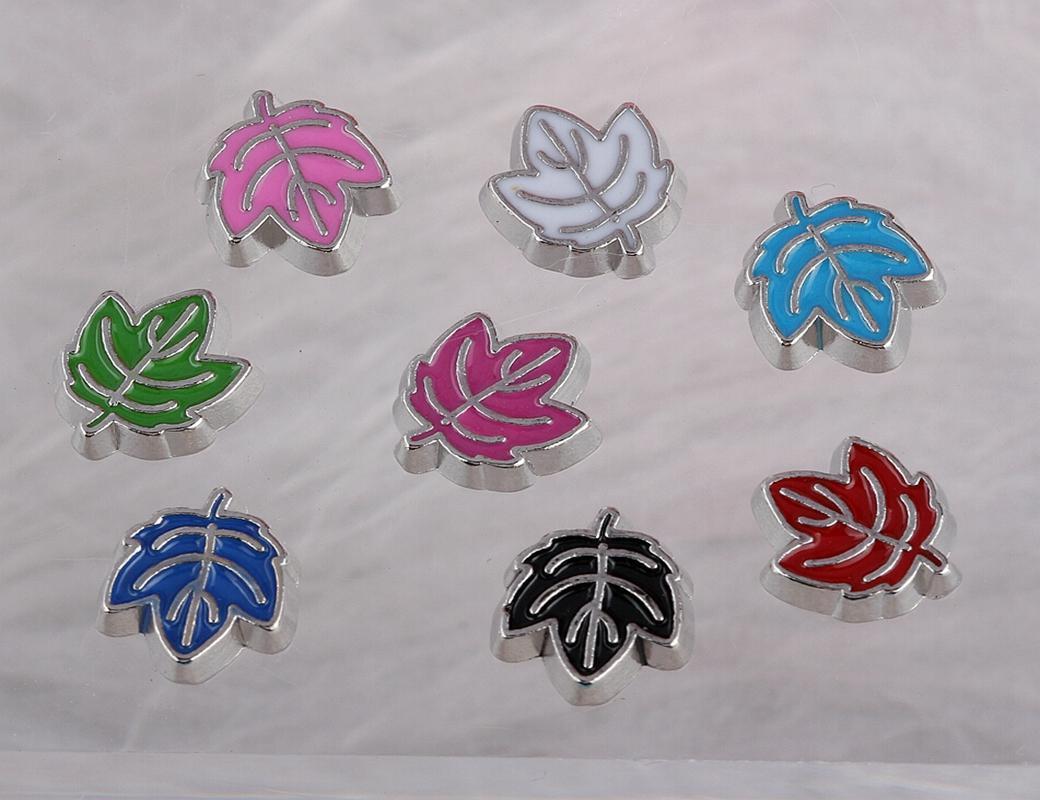 Flutuante medalhões encantos folhas esmalte prata Vintage Para vidro viver Memória Flutuante Locket Mix projeto Assorted encantos Jóias Meninas 100PCS