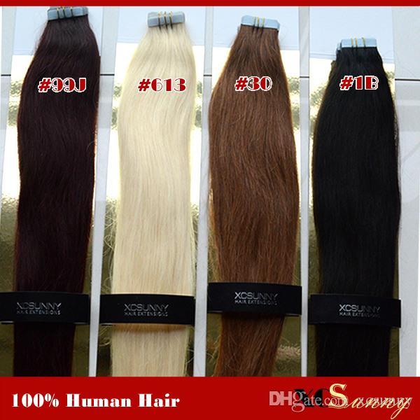 "XCSUNNY 18 ""20"" лента в наращивании волос Remy 40 штук 100 г Remy лента в наращивании волос прямое наращивание ленты"